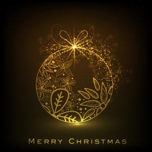 Decorative Xmas balls on shiny snowflakes background for Merry C